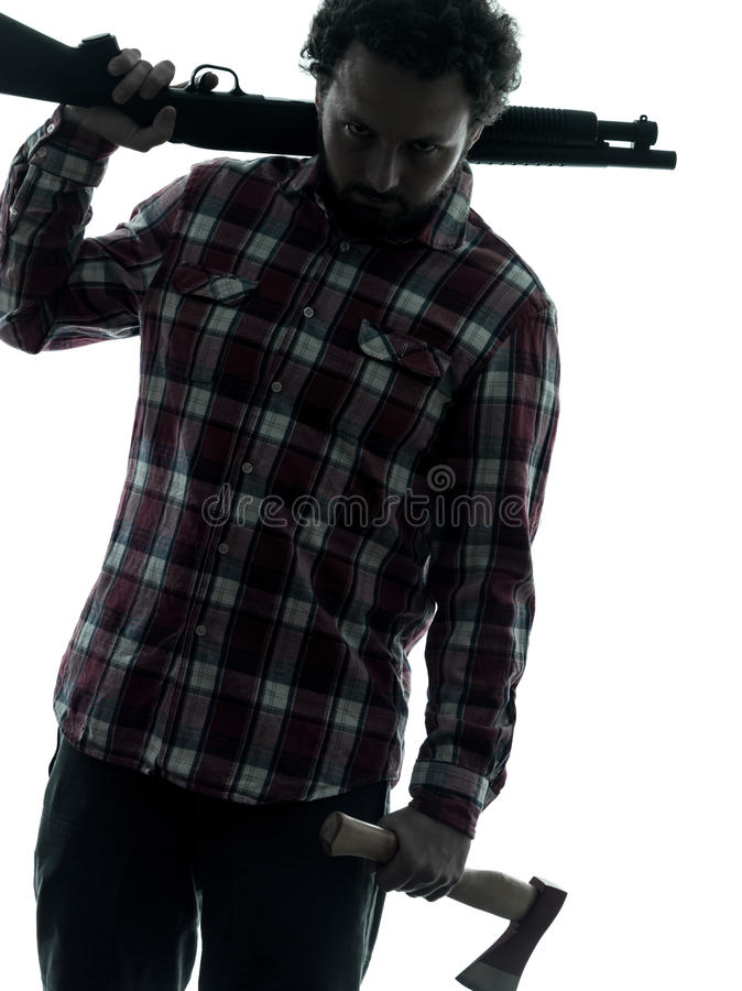 Free Man Serial Killer With Shotgun Silhouette Portrait Stock Photography - 30173552