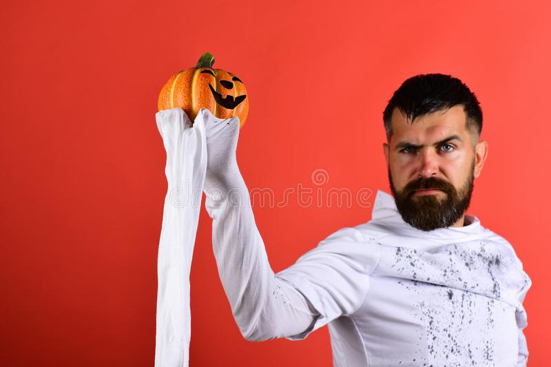 Man with serious face expression on red background royalty free stock photos