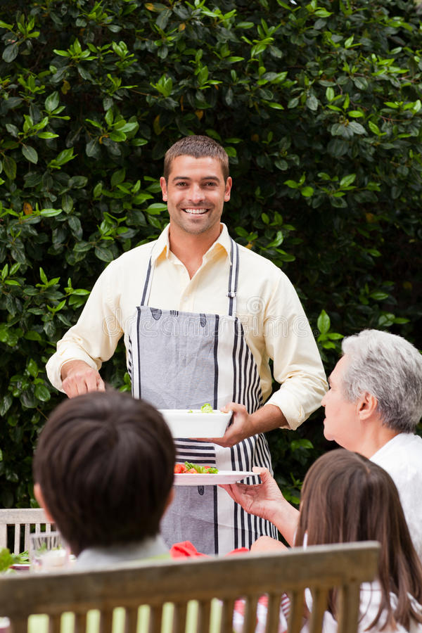 Download Man Serving His Mother At The Table Stock Image - Image of husband, healthy: 18101169