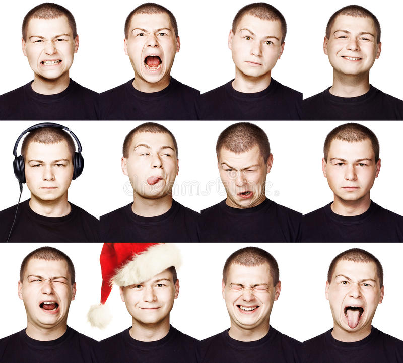Man. Set of Different Facial Expressions or Emotions. Short Hair Brunette Guy collection of Face Like Happy, Sad, Angry, Surprise, Funny stock image
