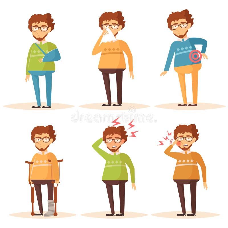 Man. Set with sick people. Headache, toothache, broken leg, broken arm, Allergy, runny nose, nauseam, back pain Vector illustration The Cartoon character stock illustration