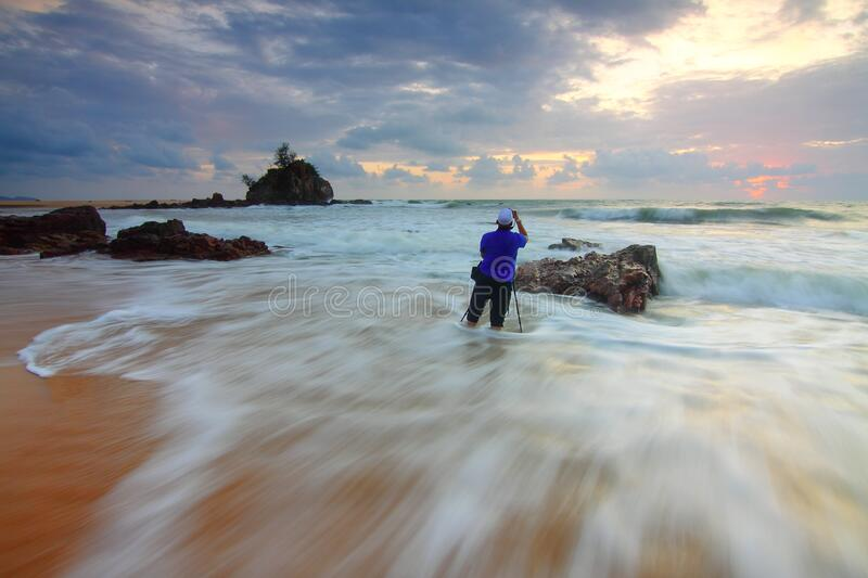 Man in shallow water royalty free stock image