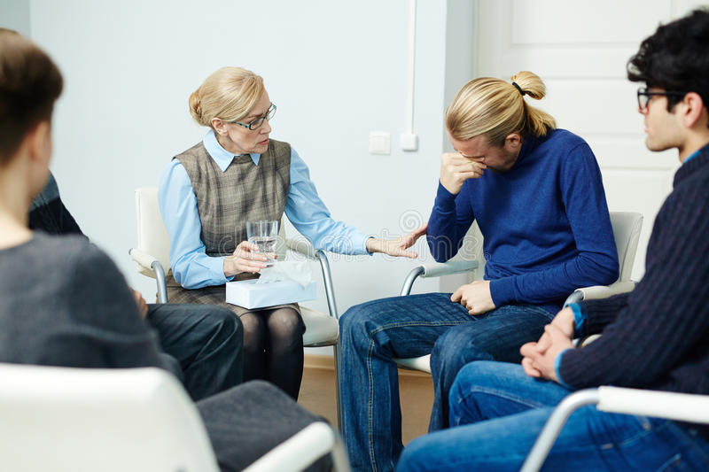 Man Sharing Trouble in Group Therapy royalty free stock photos