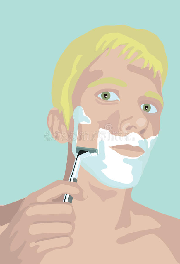 Man shaves his face vector illustration