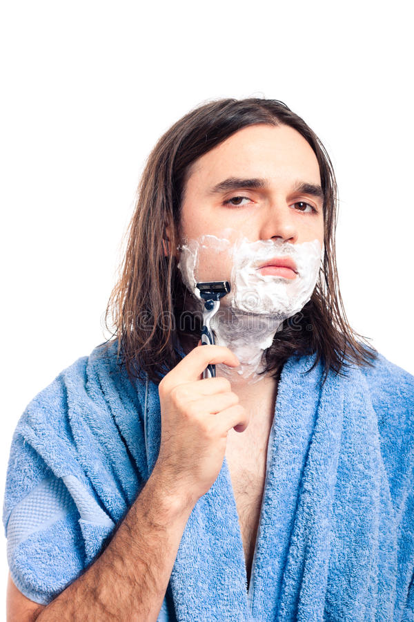 Man shaving after bath