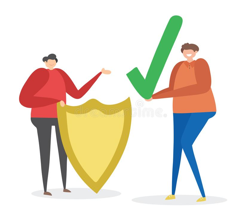Man with shield and other man holding check mark, hand-drawn vector illustration royalty free illustration