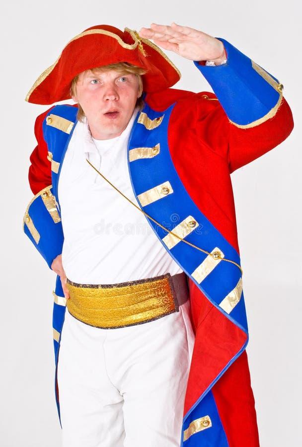 Man in Ships Captain Costume stock photo