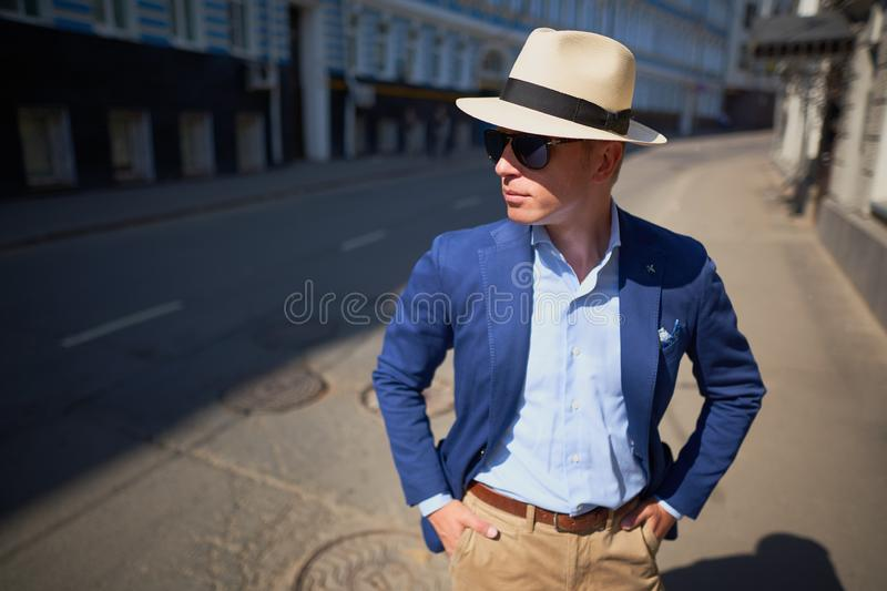 The guy in the hat on the street royalty free stock photo