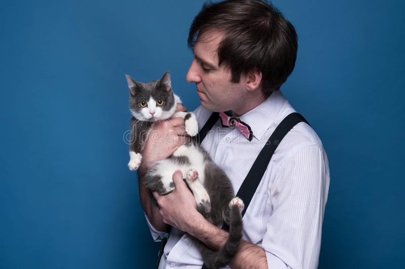 man in shirt, suspender and pink bow tie holding and looking to cute grey cat with white paws on blue background stock photography