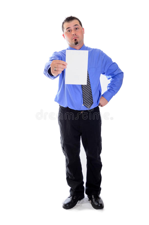 Man shirt and tie holding blank card raised eyebrow. A smiling business man in blue shirt and tie holding a blank card, raising his eyebrow in confidence stock images