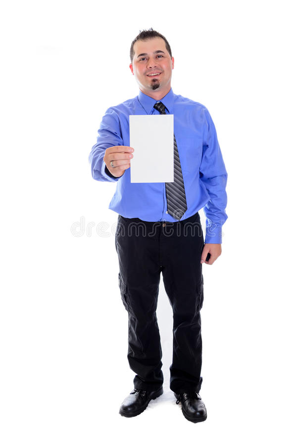 Man shirt and tie holding blank card smiling. A smiling business man in blue shirt and tie holding a blank card and smiling stock photography