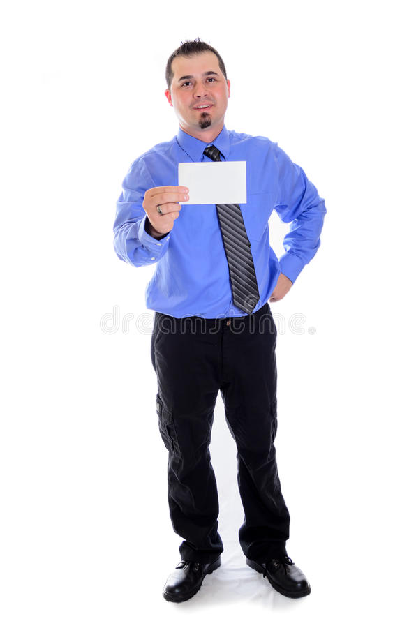 Man shirt and tie holding blank card. A smiling business man in striped shirt and tie pointing to a blank card stock photos