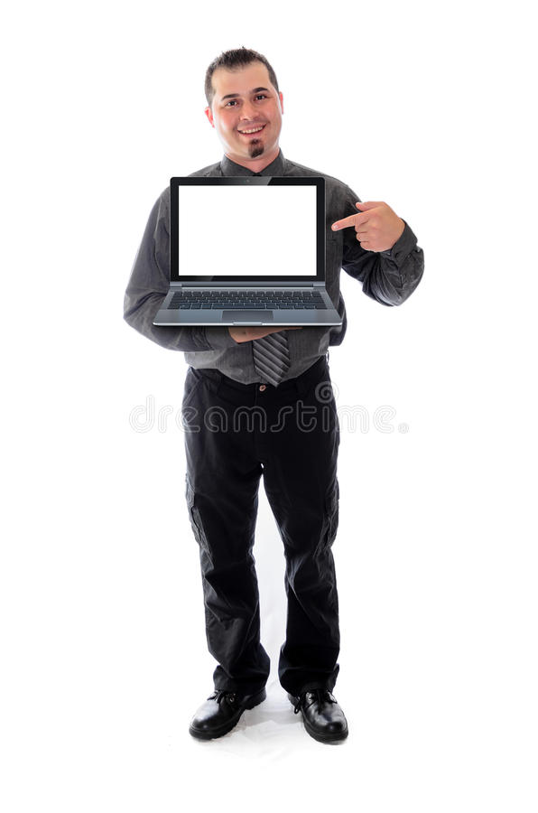 Man in shirt and tie holding laptop. Man in shirt and tie smiling, holding a laptop with a blank, white screen. product, logo placement stock photos