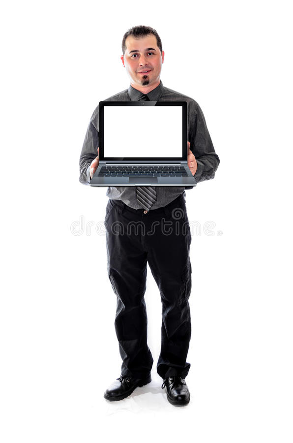 Man in shirt and tie holding laptop smiling. Man in shirt and tie smiling, holding a laptop with a blank, white screen. product, logo placement royalty free stock photos