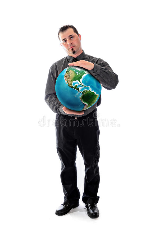 Man in shirt and tie holding world globe. Man in shirt and tie holding a large wall clock stock images
