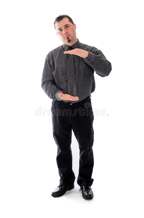 Man in shirt and tie product placement hands. Man in shirt and tie holding hands for product placement stock photos