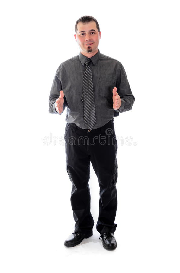 Man in shirt and tie product placement hands. Man in shirt and tie holding out hands for product placement stock photography