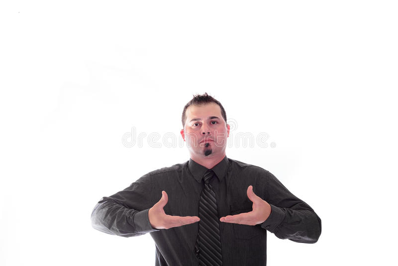 Man in shirt and tie product placement hands. Man in shirt and tie holding out hands for product placement stock images