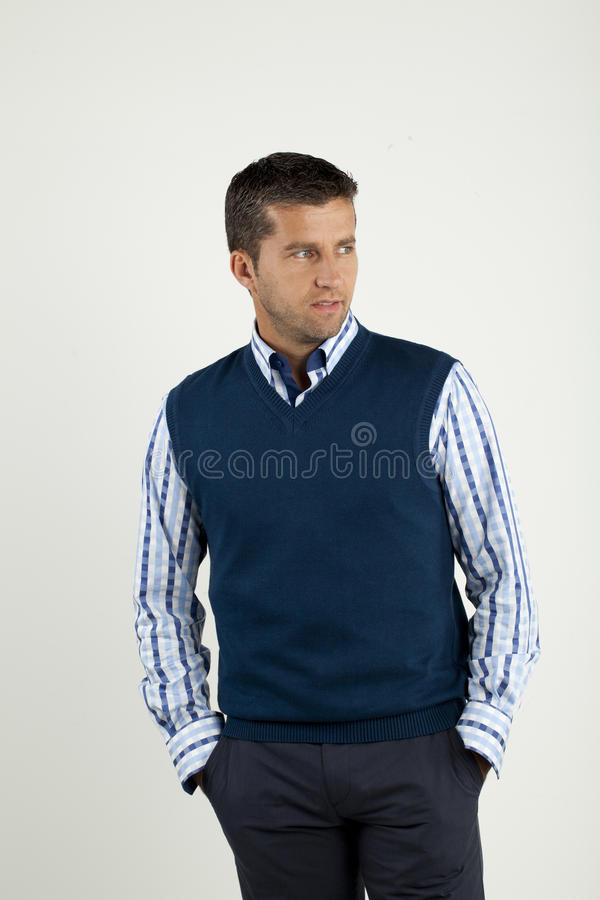 Man in shirt and vest stock images