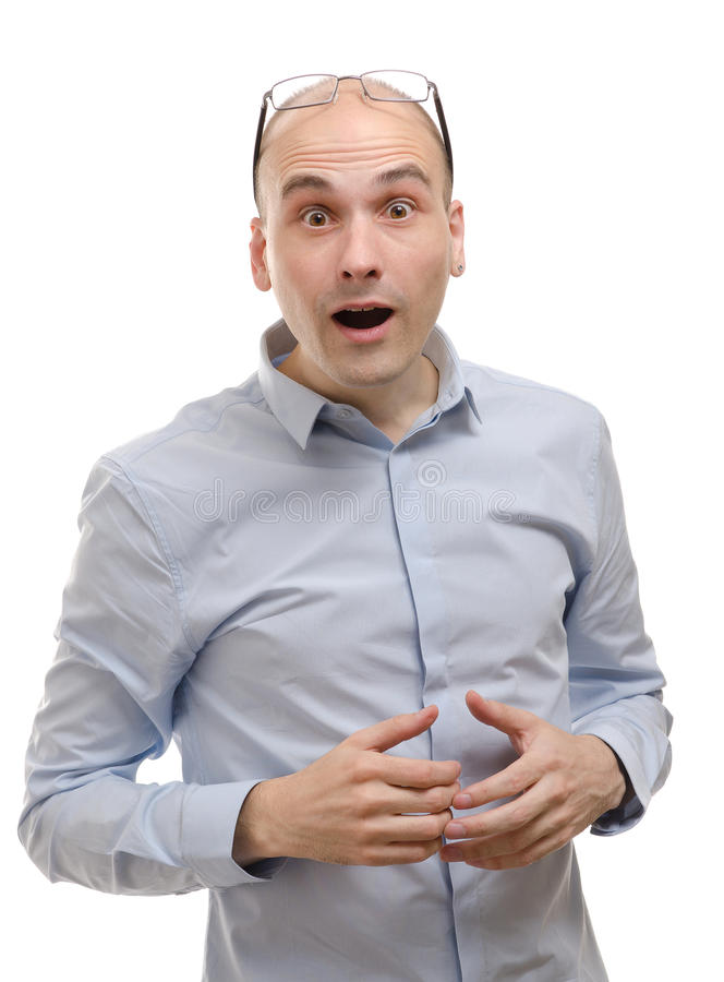 Man with a shocked facial expression stock image