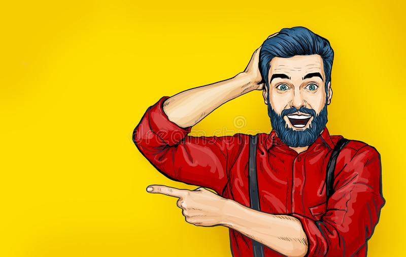 Man with shocked facial expression. Surprised Man in comic style. Man showing . Advertisement. Smiling man. WoW. royalty free illustration