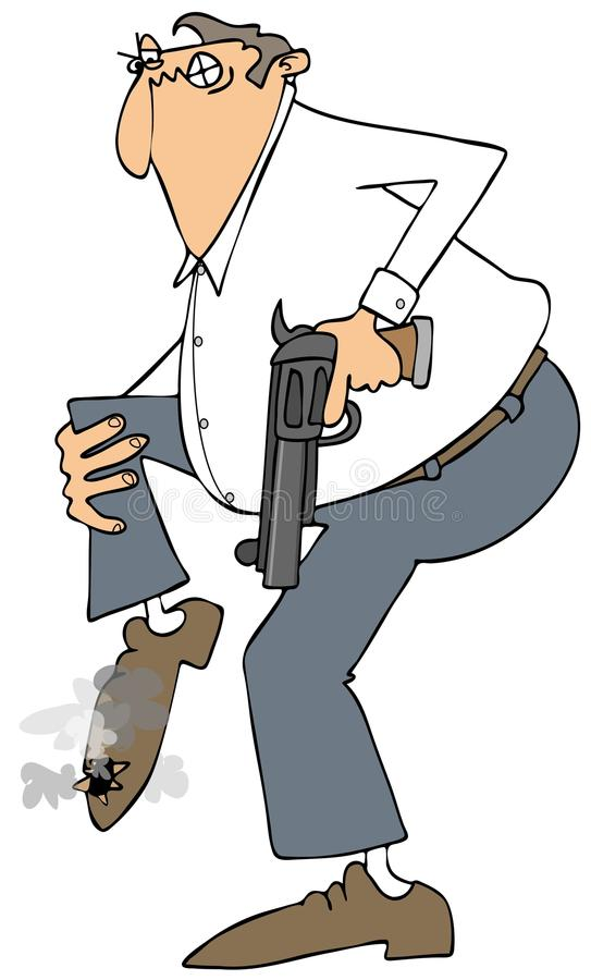 Man shooting himself in the foot vector illustration