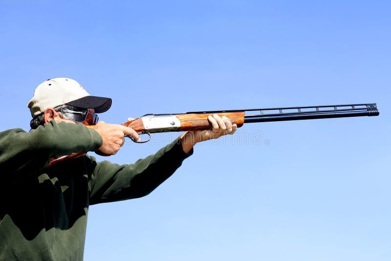 Man Shooting Skeet stock image