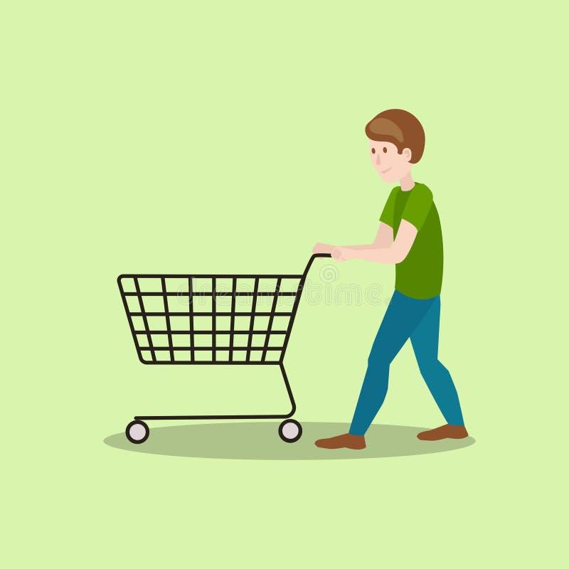Man with shop cart cartoon vector illustration stock illustration