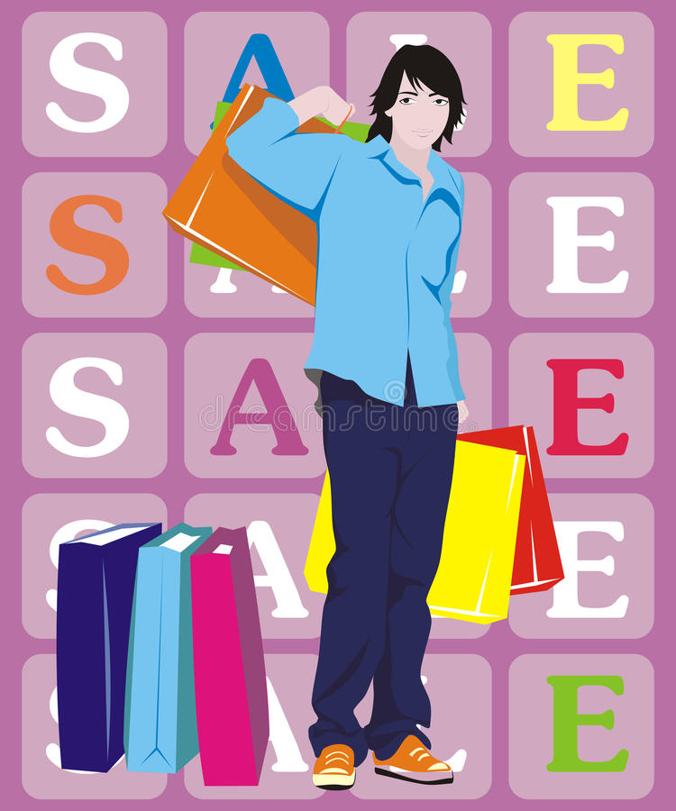 Download Man with shopping stock vector. Image of fashionable - 16606704
