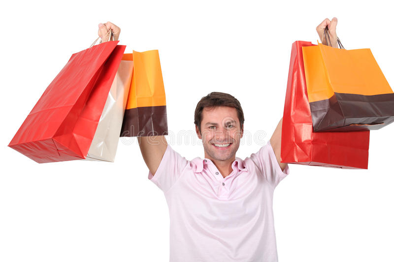 Download Man with shopping bags stock photo. Image of arms, white - 24159762