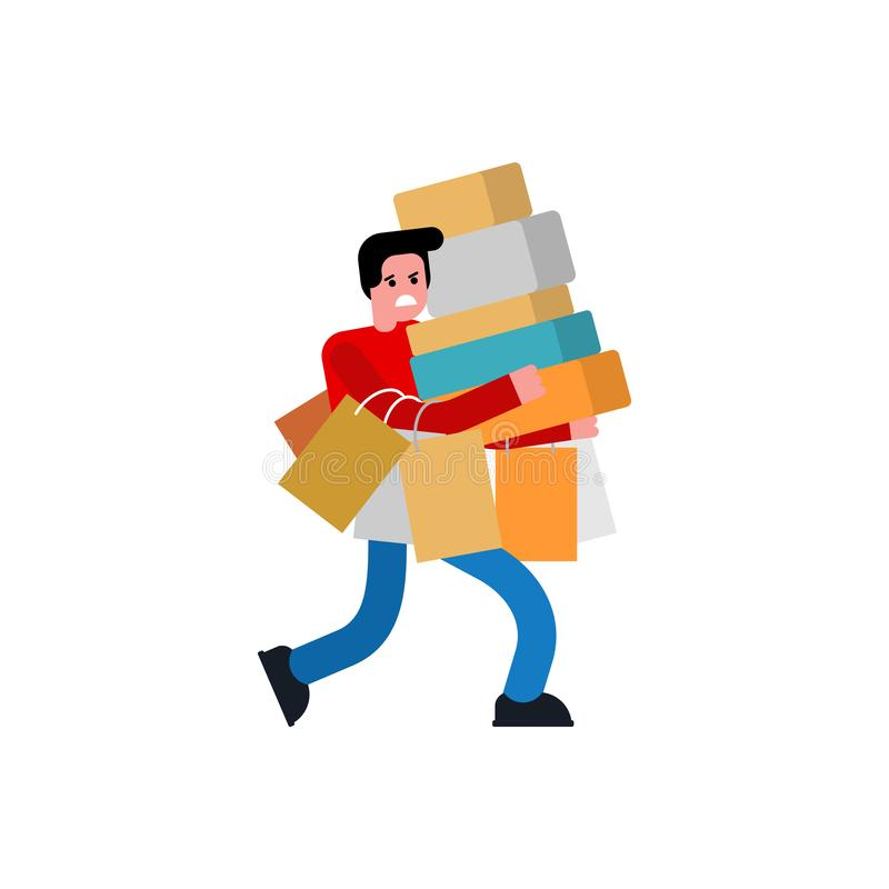 Man shopping isolated. Male in store and packages. buyer guy and shopping bag stock illustration