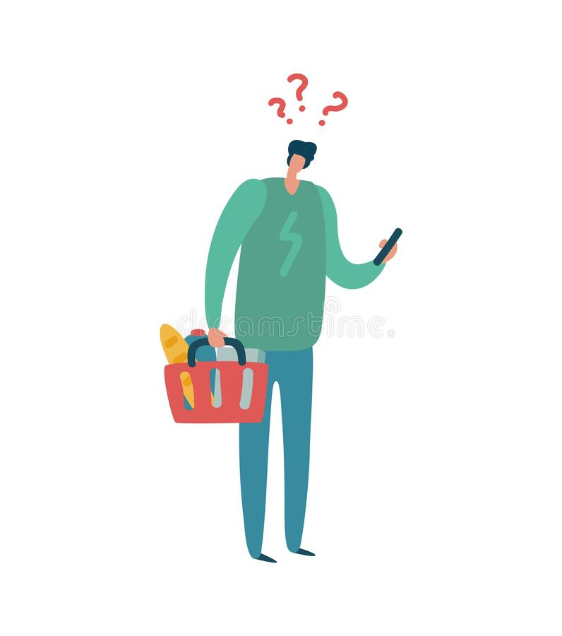Free Man Shopping. Male Character With Question Mark Above Head Hold Colorful Basket, Buyer With List Buys Products In Royalty Free Stock Photo - 191074135