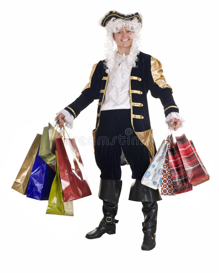 Man In Shopping With Old Costume And Wig. Royalty Free Stock Photo
