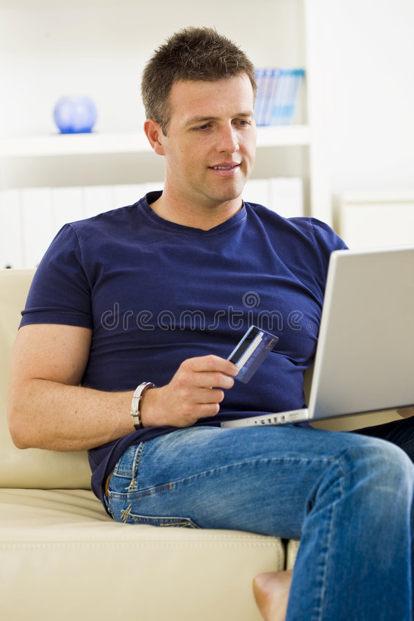 Download Man shopping online stock photo. Image of career, jeans - 9138386