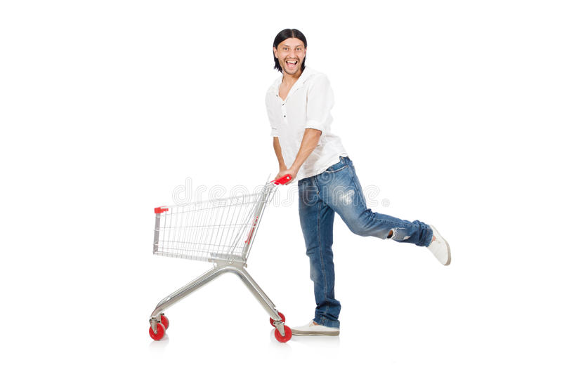 Man shopping with supermarket basket cart isolated royalty free stock photos