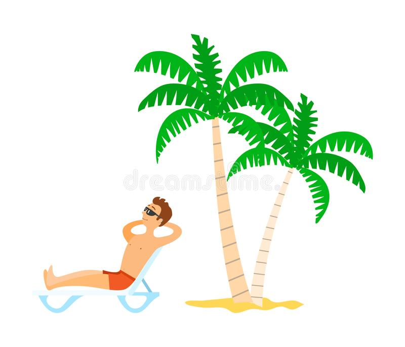 Person Lying on Chaise Lounge, Sunbathing Vector royalty free illustration