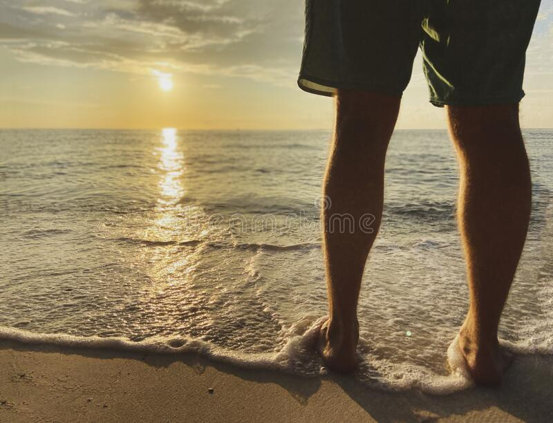 A man in shorts meets a beautiful sunset, sunrise. A warm sea wave with foam touches the legs. Sandy beach and sea. A man in shorts meets a beautiful sunset royalty free stock images