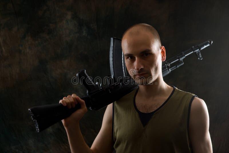Man with shotgun royalty free stock photos