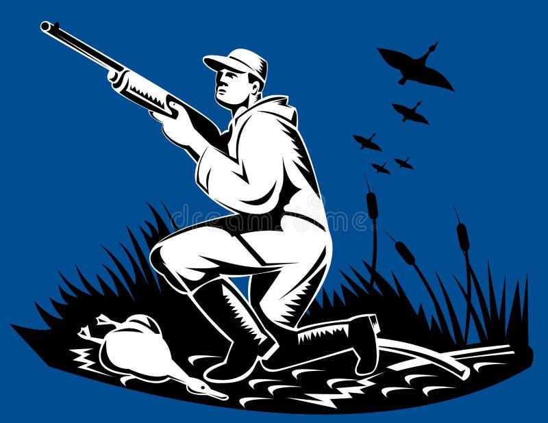 Man with shotgun duck hunting vector illustration