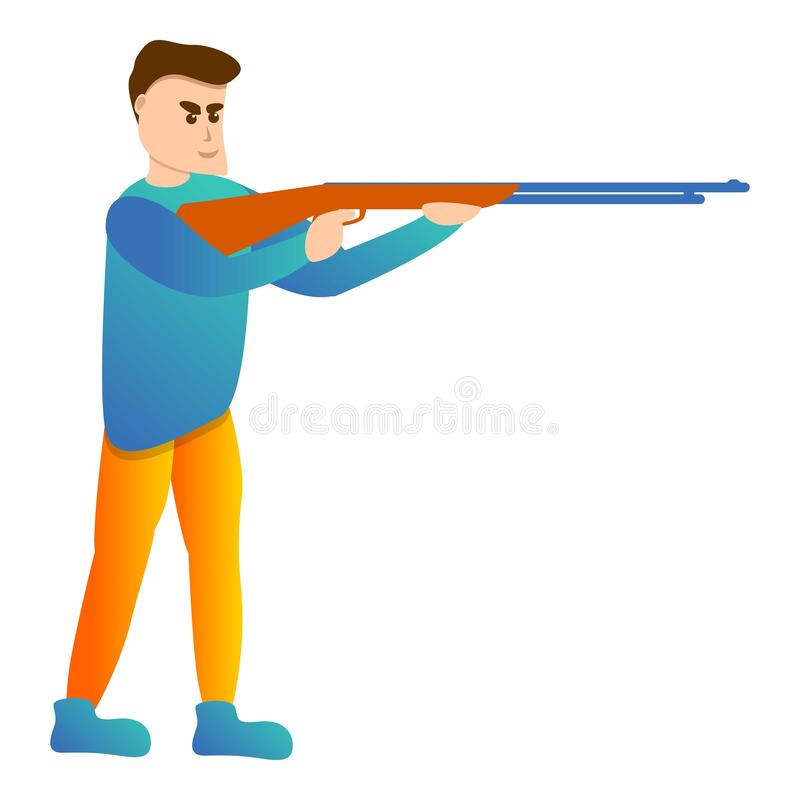 Man shotgun sport shooting icon, cartoon style stock illustration