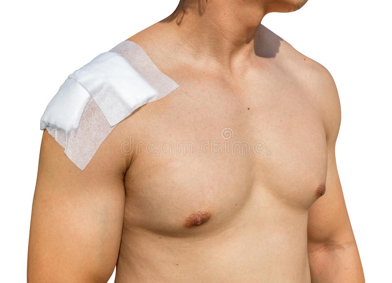 Man With shoulder pain Isolated on white. Background with clippingpath stock images