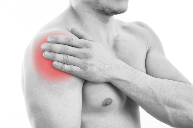 Man with shoulder pain royalty free stock photo