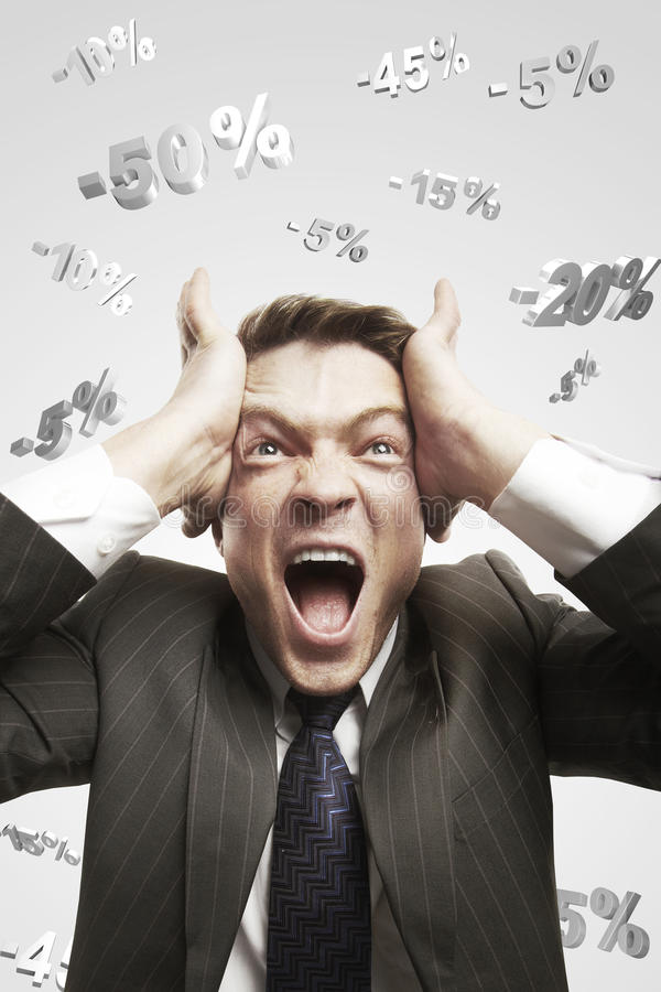 Download Man Shouting Loud Under Falling Percents Signs Stock Photo - Image: 22358320