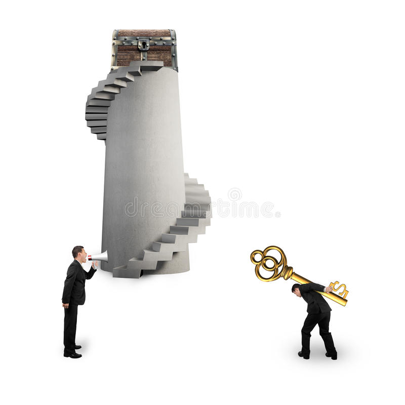 Man shouting other carrying dollar sign key with treasure chest royalty free stock photo