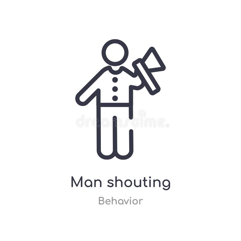 man shouting outline icon. isolated line vector illustration from behavior collection. editable thin stroke man shouting icon on vector illustration