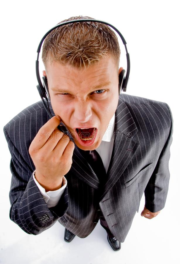 Man shouting on phone call