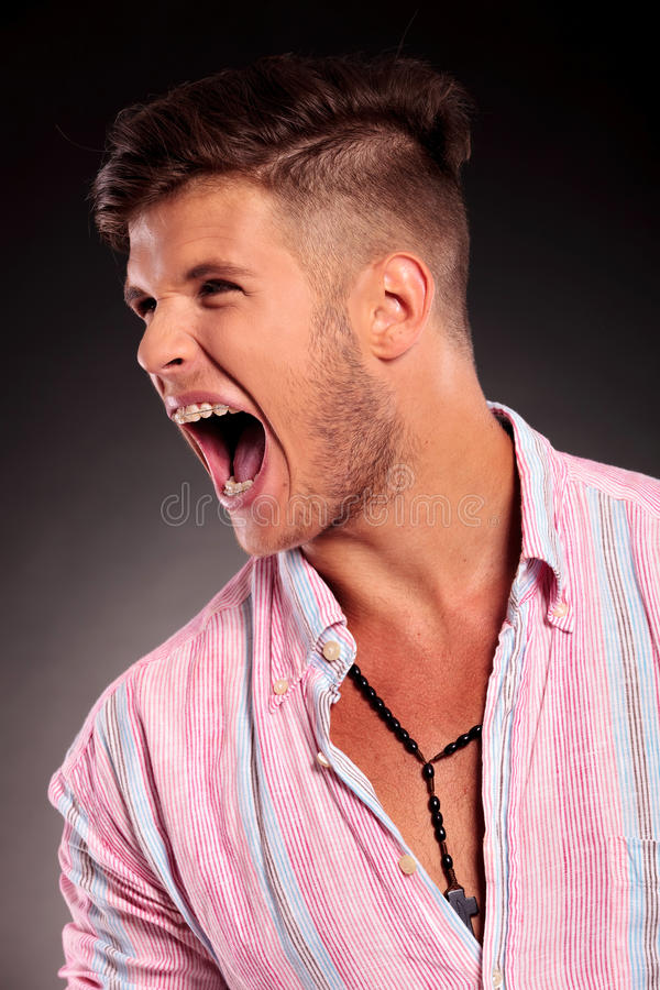 Man Shouting To His Side Stock Image