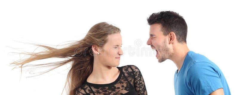 Man shouting to a woman royalty free stock photo