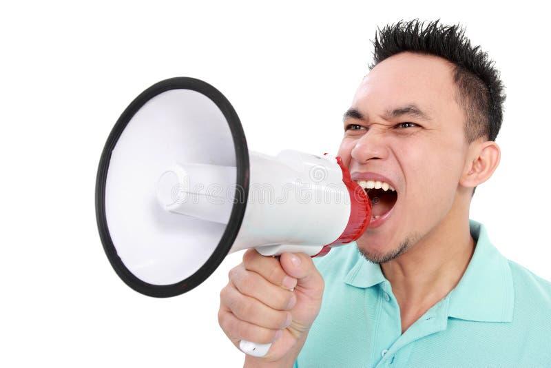 Download Man Shouting Using Megaphone Stock Photo - Image: 28151234