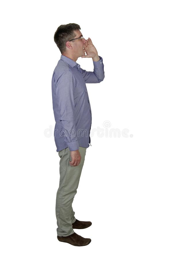 Man shouting viewing from side stock images